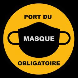 ADHESIF SOL/VITRINE PORT DU MASQUE OBLIGATOIRE - 65cm (Personnalisable)