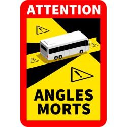 STICKERS ETIQUETTE OFFICIEL ANGLES MORT POUR BUS ou CAR